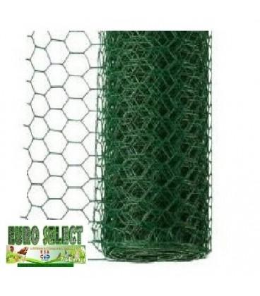 Rouleaux grillage hexagonal plastifié 25 ml- Hauteur 1 m - maille 13 mm - diamètre fil 1.00 mm