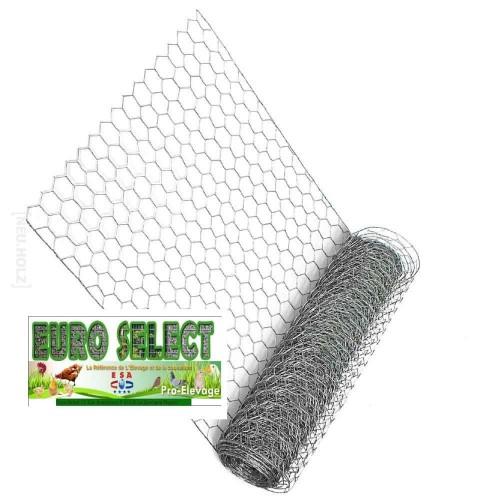 Palette Rouleaux de grillage hexagonal 50 ml : Hauteur 1 m - maille 16mm - diamètre fil de 0.70mm