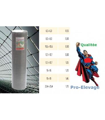 Grillage 25,4x25,4/fil 1,6/1000/25m volieres galvaniser soudé
