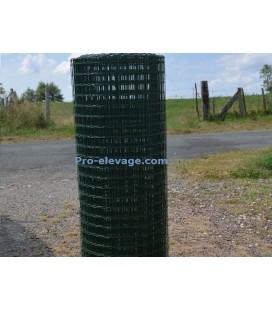 Grillage 25x25/fil 2,0/1000/10m volieres galvaniser soudé + PVC hobby green