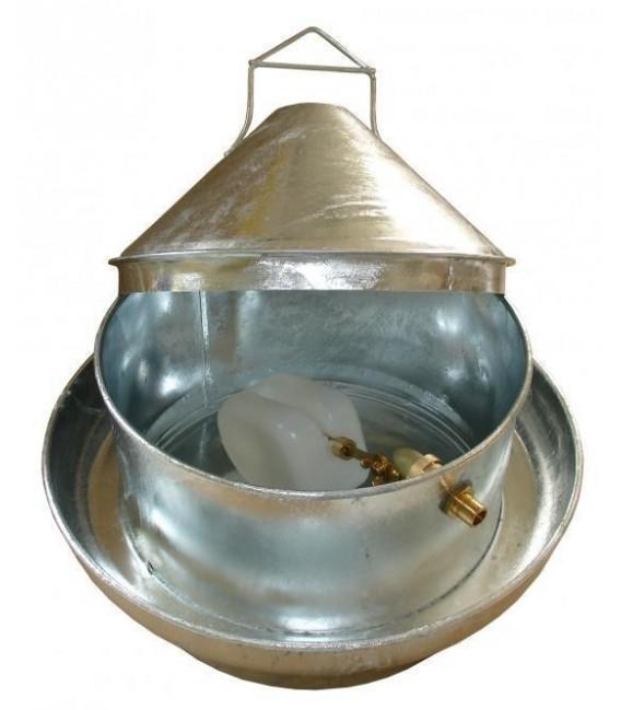 Abreuvoir circulaire volailles en galva avec raccord direct au réseau d'eau
